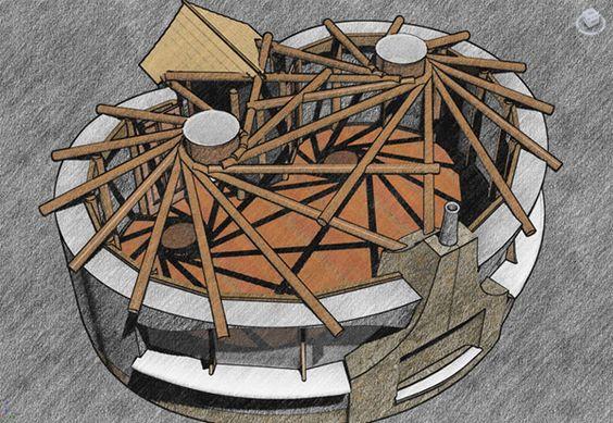 Inspiratie voor het rondhouten paviljoen dat we in de workshop gaan bouwen.