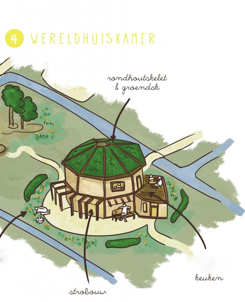 Impressie nog te bouwen wereldhuiskamer - Illustratie door Sylvia Machgeels / http://sylviamachgeels.nl